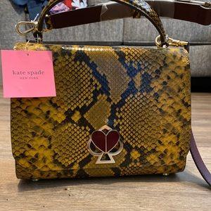 Kate Spade Exotic Snakeskin Embossed Leather Satchel Animal Print Gold Black